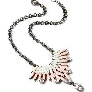 Peach & Ivory Austrian Crystal Joan Bib Necklace